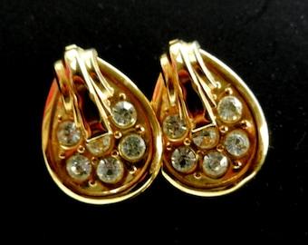 1970 original, Italian Deco Earrings - Shining drop  Deco - gold and crystals - large elegant style-Art.846/2-