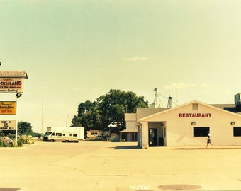 Retro Photography, RESTAURANT, from 35mm Film photo, blueberry pie, family, summer road trip, camper, RV, Holland Michigan, faded