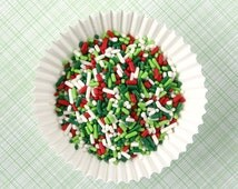 Christmas Sprinkles, Christmas Jimmies in Red, Green, Lime and White (4 oz) Christmas Cookie Sprinkles