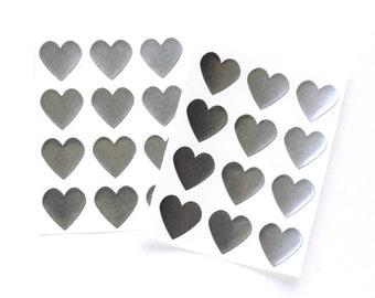 Silver Heart Stickers, Mini Silver Foil Heart Stickers (48 count)