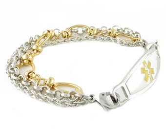 Medical ID Bracelet Trio Stainless Steel and Gold Plated