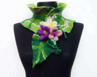felted spring eco friendly collar scarf, wearable art