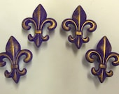 Drawer Pulls Fleur de Lis Knobs Set of 4 Upcycled Distressed Purple Gold New Orleans Paris Apartment Chic Shabby
