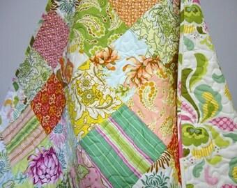 Baby Girl Quilt-Toddler Quilt-Modern Patchwork Crib Quilt-Freshcut-Retro