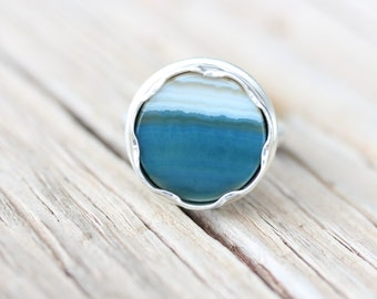 Blue Striped Agate Flower Silver Ring Water Pastel Petrol Color Large Round Bezel Set Gemstone Disc Statement Ring Floral Boho - Wasserblume