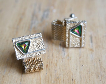 Vintage Cuff Links, Vitrail Crystal and Gold Tone