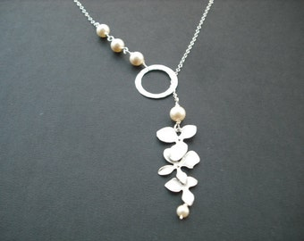 Sterling Silver Chain - orchid flowers with sterling silver hammered ring lariat - Bridesmaids gift, Wedding Gift