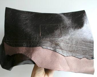 Brown leather clutch bag, metallic two tone brown boho style leather clutch bag, brown summer clutch bag ON SALE