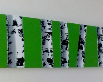 "Birch Tree Oil Painting- ""Green Apple Birches"""