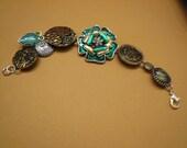 Bohemian Bracelet Flower Bracelet Gypsy Bracelet Metal Bracelet