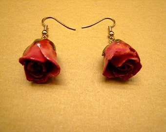 Red Rose Earrings, Flower Earrings Resin Earrings Dainty Earrings