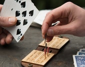 Travel Cribbage Board - Leather Travel Game