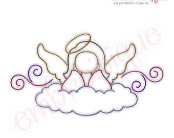 Angel with Curls 3- Instant Email Delivery Download Machine embroidery design