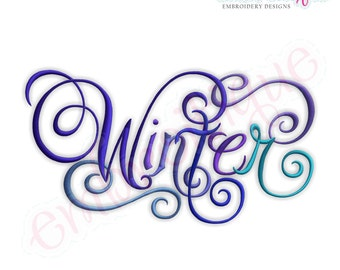 Winter Calligraphy Script Embroidery Design - Small- Instant Email Delivery Download Machine embroidery design