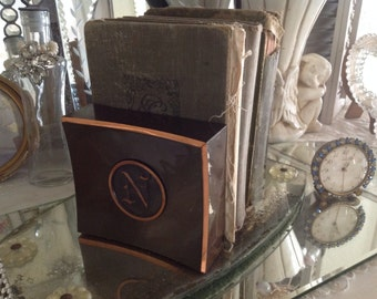 Vintage Copper And Bronze Bookends Initial N  Home Decor Midcentury