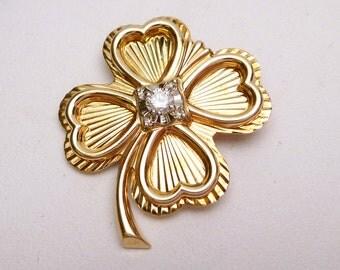 14k Four Leaf Clover with Diamond Pin