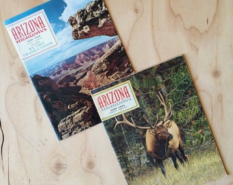 FREE Shipping | Pair of Vintage 1960s ARIZONA HIGHWAYS Magazines feat. Grand Canyon and Elk Herds