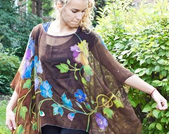 Silk Tunic Kimono Caftan Silk Chiffon Blouse with Hummingbirds Hand Painted Blouse Kaftan Custom Order