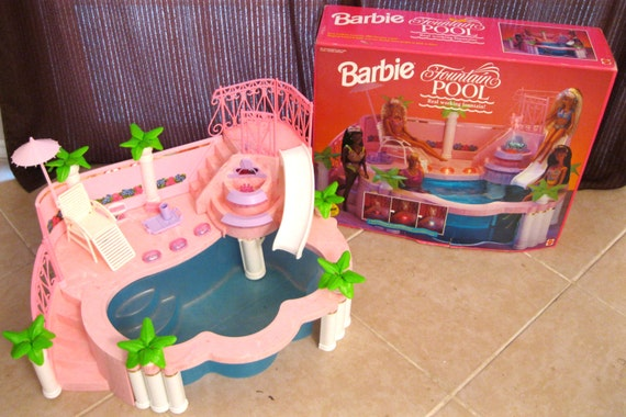 Vintage 1993 Mattel Barbie Fountain Pool With Original Box