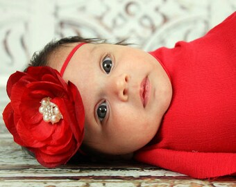 RED Flower with Gorgeous Rhinestones and Pearl Embellishment on Skinny RED Band---Christmas-- HOLIDAY--Valentines Day