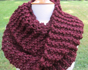 Plush Infinity Scarf Cowl in Deep Red Wine