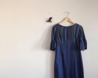 Navy blue striped vintage dress size med