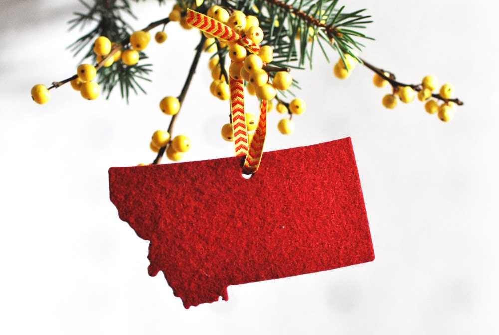 Montana Christmas Ornament in Red Felt Father's Day by AHeirloom