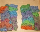 Fancy Schmancy Fingerless Mitts in Amazing yarn crochet  FREE SHIPPING