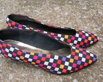 Vintage Multicolored Checkered Kitten Heels 8