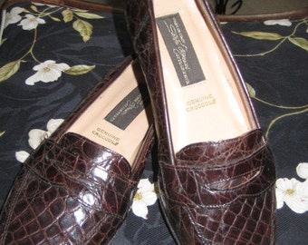 Vintage Genuine Crocodile Italian Made Penny Loafers Old New Stock