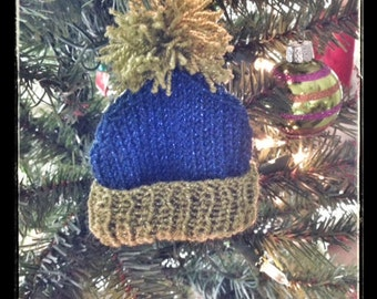 Easy Knitted Ornament, Knitting Pattern, Rolled Brim Hat Ornament, Ornament Pattern