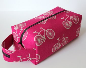 LARGE Sweater-sized Zippered Knitting Crochet Project Box Bag - Echino Bicycles in Pink