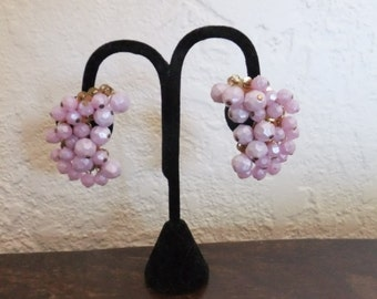 Vintage Earrings Clip On Lavender Beads Gold Tone Retro Accessories Costume Jewelry Clips