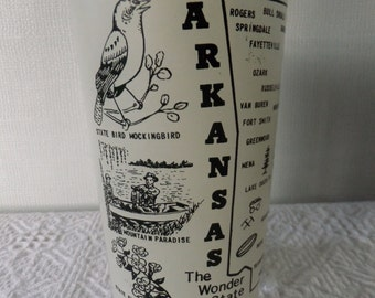 Vintage Souvenir State Federal Glass Tumbler Arkansas Cream Off White Vacation Travel Road Trip Retro