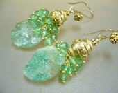 Real Emerald Druzy Wire Wrapped Gold Earrings