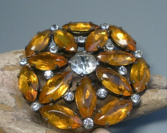 Vintage Amber Glass and Rhinestone Sparkling Pin