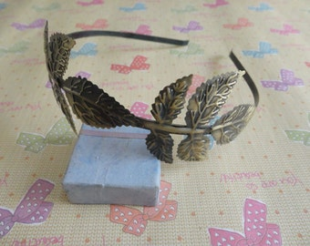 6pcs Metal Headbands 5mm bronze color with bent end with flower