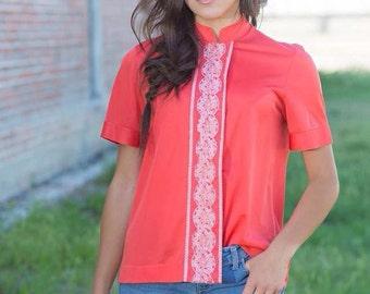 Vintage Tomato Embroider blouse VR2073