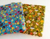 Mushroom Fabric 2 Fat Quarters -Willow Berries for Alexander Henry - Cotton Quilt Fabric - FQ - Stash Builder - Fabric Destash - I spy quilt