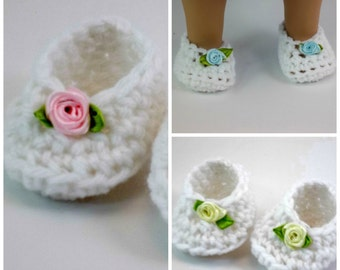 18 inch Doll Clothes White Crochet Slippers Ribbon Roses  Toys Footwear Shoes