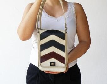 Vintage 1950s Handbag / Rectangle Vanilla Arrow Leather Bag