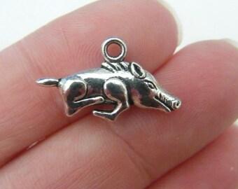 6 Wild boar charms antique silver tone A35