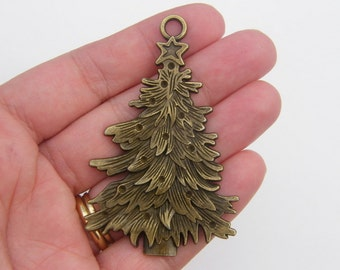 1 Christmas tree pendant antique bronze tone BC166