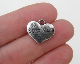 BULK 20 Step Mum pendants  antique silver tone M430 - SALE 50% OFF