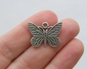6 Butterfly charms antique silver tone A350