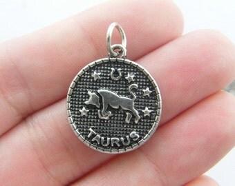 2 Taurus pendants antique silver tone M384