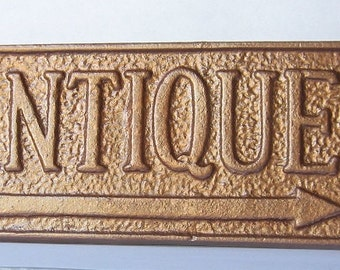 Cast Iron Antique Sign/ Home Decor/ Wall Decor Plaque Painted in Hammered Copper