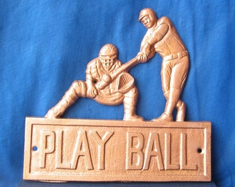 Cast Iron Baseball Sign/ Play Ball /  Painted in Hammered Copper/ Back to School