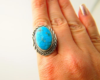 Turquoise Ring - Native American - Sterling Silver - Vintage