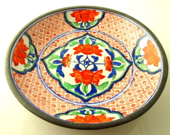 Neiman Marcus Handpainted Bowl - Porcelain & Pewter - Hong Kong - Vintage